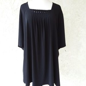 Maggie Barnes Quarter Sleeve Black Top 2XL